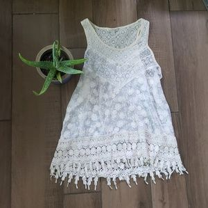 Haute Monde cream crochet lace embroidered top